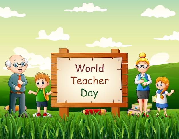 Feliz día mundial de los docentes con profesores y alumnos en la naturaleza