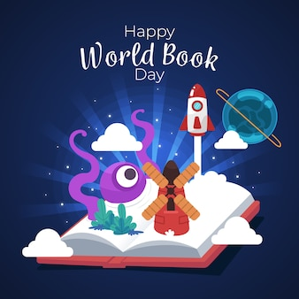 Feliz día mundial del libro con libro abierto