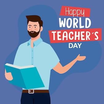 Feliz día mundial del maestro, con el libro de lectura del maestro hombre