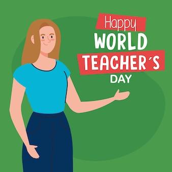 Feliz día mundial del maestro, con maestra joven