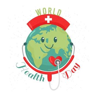 Feliz día mundial de la salud planeta con estetoscopio