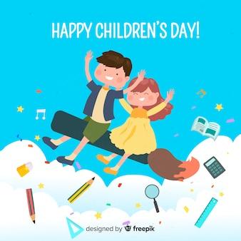 Feliz día del niño deseo en la ilustración