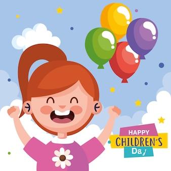 Feliz día del niño con dibujos animados de niña y diseño de globos, tema de celebración internacional
