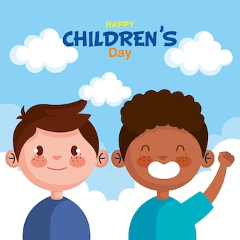 Feliz día del niño con diseño de dibujos animados de niños, ilustración de tema de celebración internacional