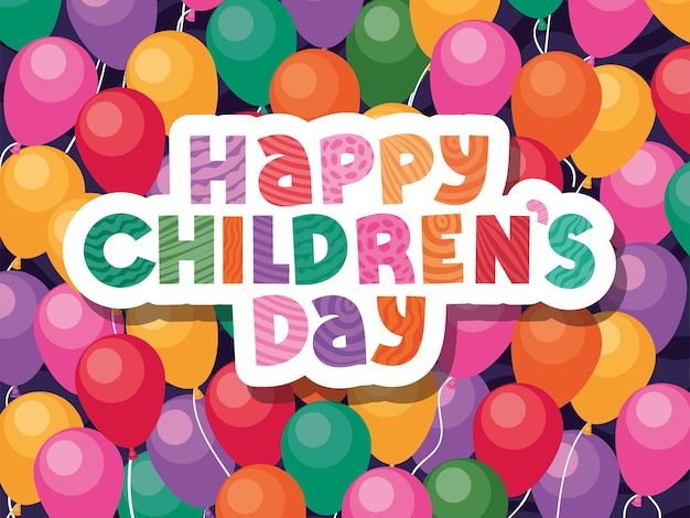 Feliz día del niño en el diseño de fondo de globos, tema de celebración internacional