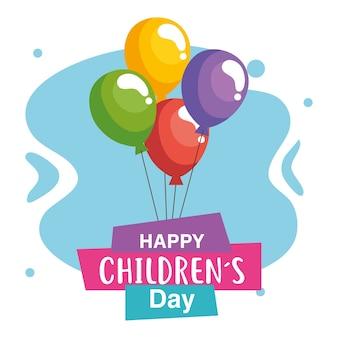 Feliz día del niño con diseño de globos, ilustración de tema de celebración internacional