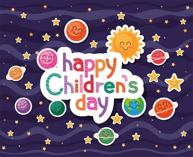 Feliz día del niño con diseño de iconos de dibujos animados espaciales, tema de celebración internacional