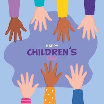 Feliz día del niño con diseño de manos arriba, ilustración de tema de celebración internacional