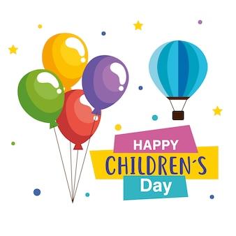 Feliz día del niño con globos y diseño de globos aerostáticos, tema de celebración internacional