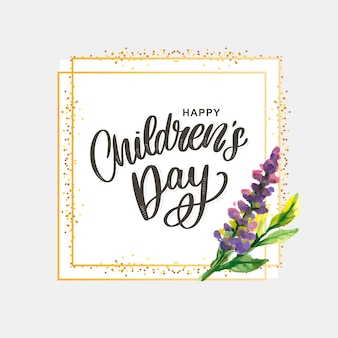 Feliz día del niño, linda tarjeta de felicitación con letras divertidas en estilo escandinavo y paisaje de dibujos animados