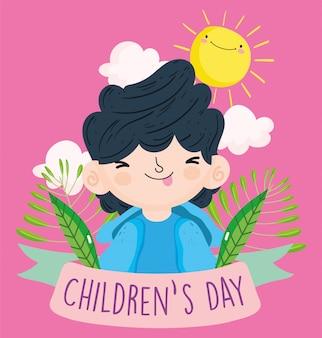 Feliz día del niño, lindo niño pequeño con la lengua afuera sale del cielo ilustración vectorial