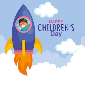 Feliz día del niño con niño en diseño de cohetes, ilustración de tema de celebración internacional