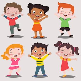 Feliz día del niño niño feliz colección de dibujos animados