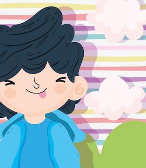 Feliz día del niño, niño lindo con ilustración de vector de lengua afuera