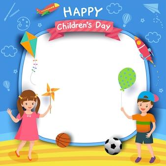 Feliz día del niño con niño y niña jugando