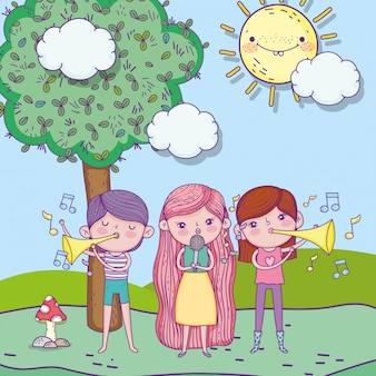 Feliz día del niño, parque infantil con micrófono y trompeta
