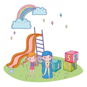 Feliz día de los niños, amistosas niñas con parque de bloques de diapositivas