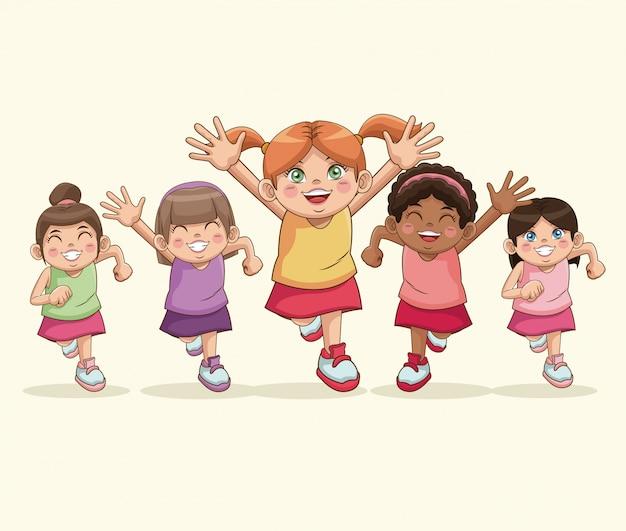 Feliz día de los niños. chicas de dibujos animados dulce celebración sonriente
