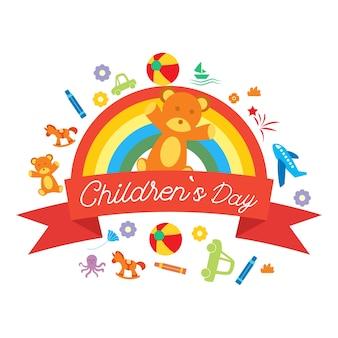 Feliz día de los niños para niños celebración logo