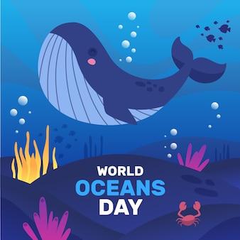 Feliz día de los océanos de ballenas y algas