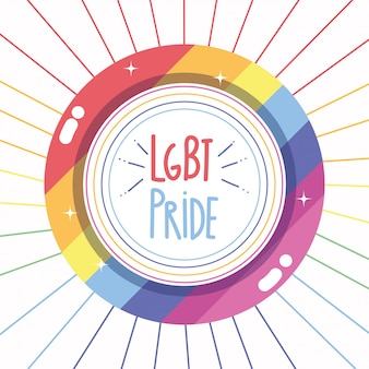 Feliz día del orgullo, comunidad lgbt de la etiqueta del borde del arco iris