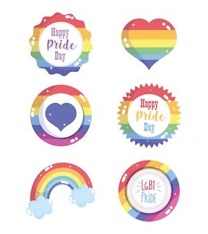 Feliz día del orgullo, la insignia de la etiqueta del corazón de la bandera del arco iris establece la comunidad lgbt