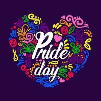 Feliz día del orgullo letras en un corazón