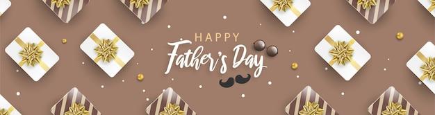 Feliz día del padre banner con cajas de regalo blanco y marrón.