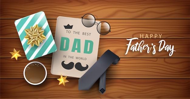 Feliz día del padre banner con corbata, bigote, círculo gafas y elementos.