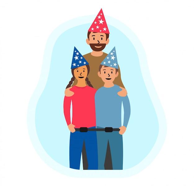 Feliz día del padre, cumpleaños plana