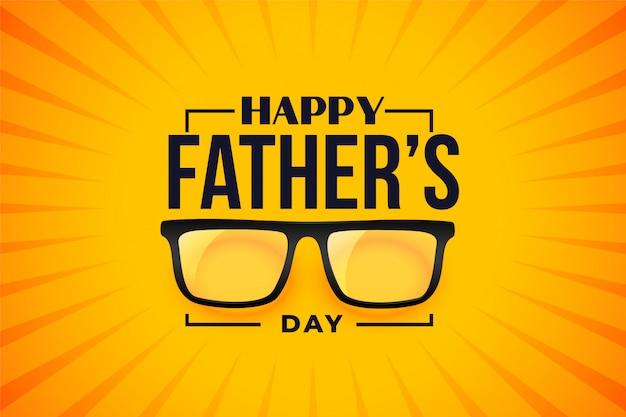 Feliz día del padre desea tarjeta con gafas