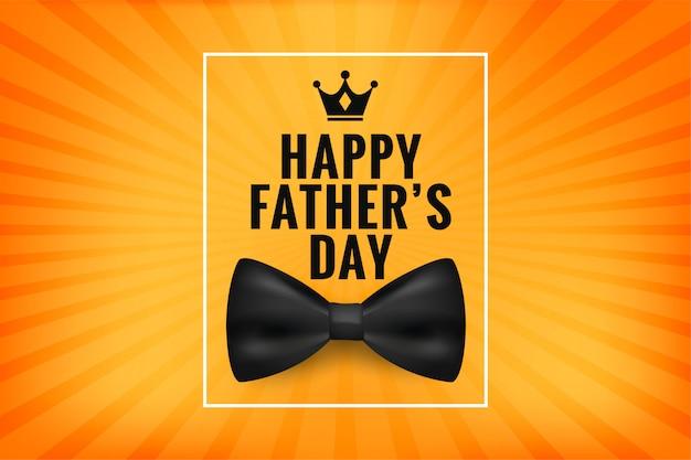 Feliz día del padre desea tarjeta con lazo realista
