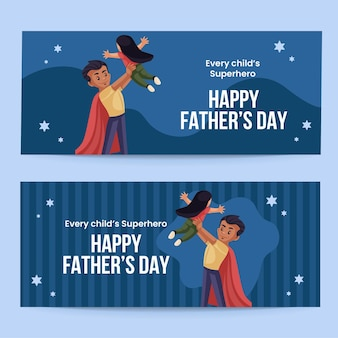 Feliz día del padre diseño de banner de estilo de dibujos animados