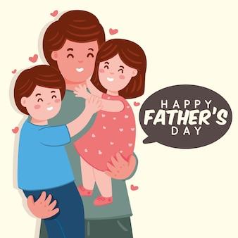Feliz día del padre con familia ilustrada