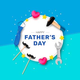 Feliz día del padre. felicitaciones por una forma redonda blanca con un martillo, corbata, llave inglesa y estrellas.
