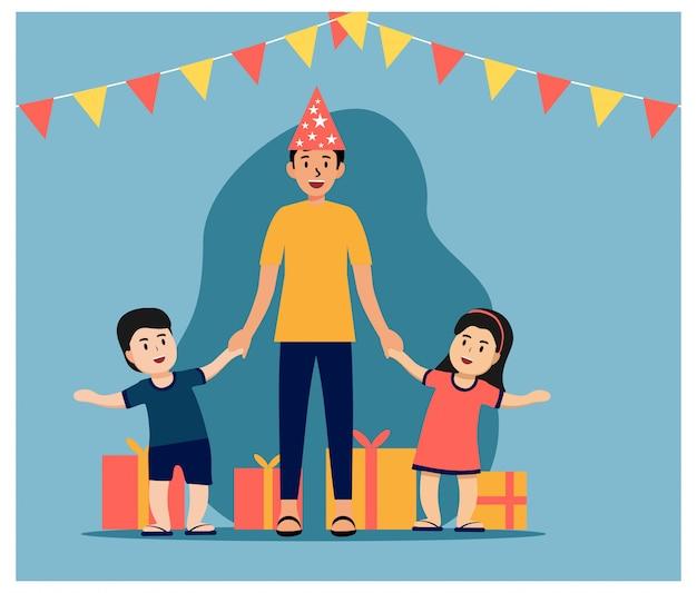Feliz día del padre, feliz cumpleaños papá plana