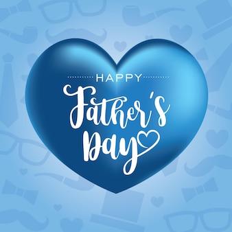 Feliz día del padre con globos en forma de corazón