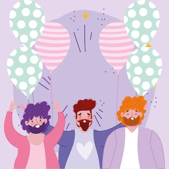 Feliz día del padre, grupo de papás con globos decoración celebración