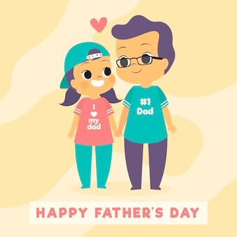 Feliz dia del padre con hija y padre