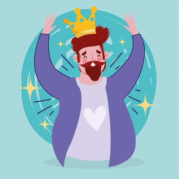 Feliz día del padre, hombre barbudo con carácter de rey de la corona