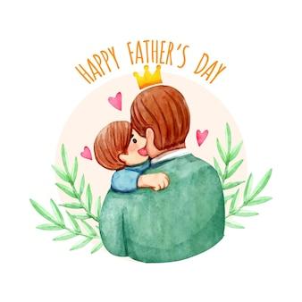Feliz día del padre con hombre y niño