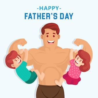 Feliz día del padre ilustración. súper papá con su hijo y su hija cuelgan de sus brazos.