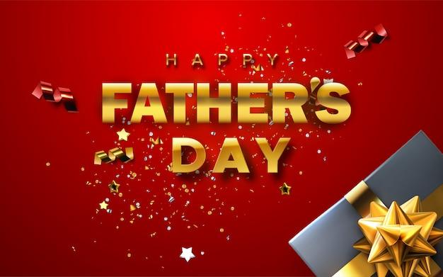 Feliz día del padre. ilustración de vacaciones fondo rojo abstracto con caja de regalo, cinta dorada y lazo, partículas de confeti y estrellas.