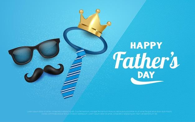 Feliz día del padre ilustraciones de fondo de corona y bigote en azul