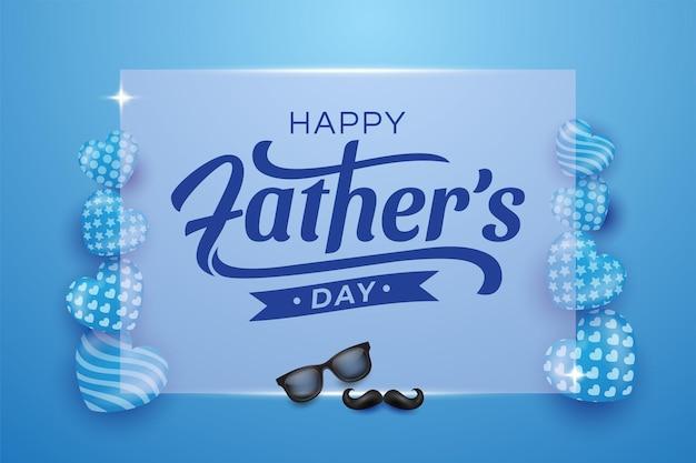 Feliz día del padre ilustraciones de fondo de vidrio cuadrado en azul.