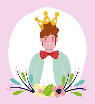 Feliz día del padre, joven papá con corona y pajarita de dibujos animados