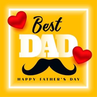 Feliz día del padre mejor papá diseño de tarjeta de felicitación amarilla
