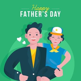 Feliz día del padre y niño lindo con gorra