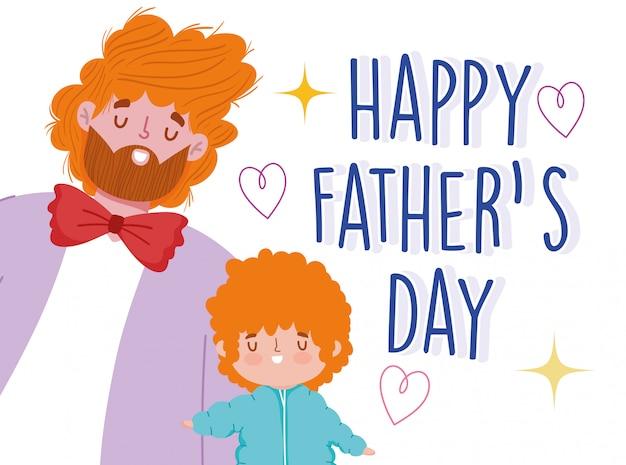 Feliz día del padre, padre e hijo con celebración de dibujos animados de pelo rizado