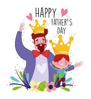 Feliz día del padre, padre e hijo con dibujos animados de personajes de corona celebrando